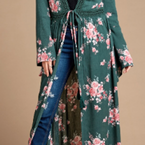 Hunter Green Lace Edge Floral Open-Front Kimono Cardigan