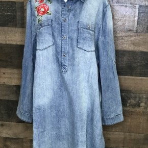 Plus denim floral embroidered front and back long sleeve