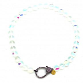 16″ IRIDESCENT MOONSTONE ON SILK CORDING
