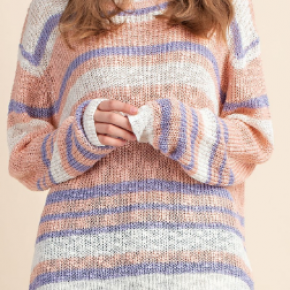 Peach combo long sleeve stripe knit sweater top