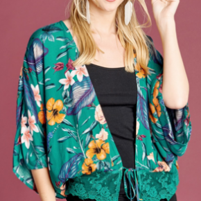 Teal floral kimono open front with knot at bottom