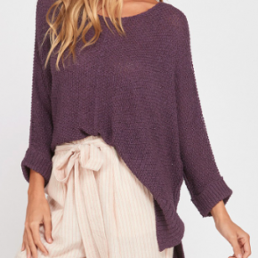 Plum 3/4 sleeve knit sweater