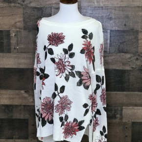 Ivory floral knit high low sweater top