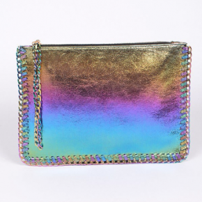 Holographic rainbow clutch with chain wrist strap
