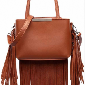 Brown handbag with shoulder strap and multiple pockets