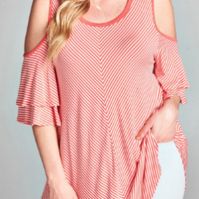 Plus coral off shoulder ruffle sleeve striped top