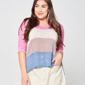 Plus size pink tri-color striped knit top with 1/2 sleeve