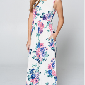 White sleeveless floral print maxi dress with pockets