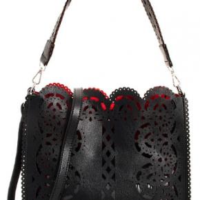 Black 2 in 1 modern laser cut pattern satchel with long strap