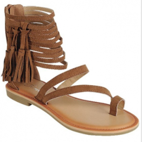Brown strappy sandals with fringe tassel