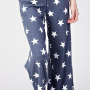 Blue thermal star wide leg pocket loungers