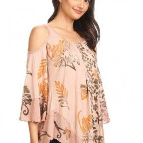 Dusty pink cold shoulder top with 1/2 sleeves and a knot under back of neck