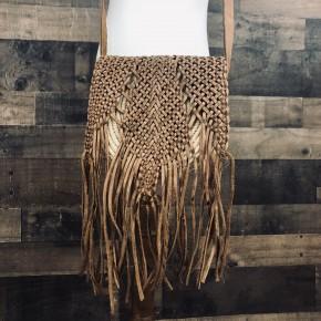 Tan & Brown Basket Woven mini shoulder bag w/ Fringe