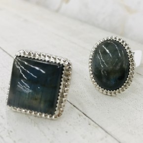 SMALL LABRADORITE  RINGS IN STERLING SILVER