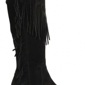Black riley suede fringe boots with side zipper