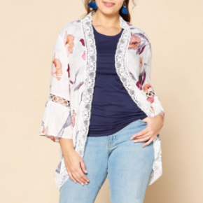 Off white open front floral kimono with lace edge detail