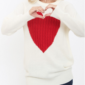 Ivory long sleeve knit sweater with red heart