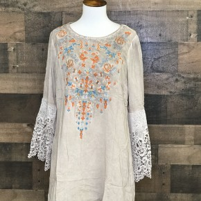 Plus size taupe flowy long bell sleeve embroidered pattern on front