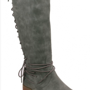 Grey back lace up knee high boots with zipper