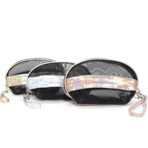 Black mesh holographic makeup bag with zip up closure