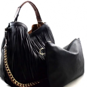 Fringed 2 in 1 chain hobo faux leather bag
