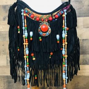 Black leather hobo fringe multi color beads bag