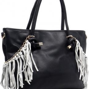 Fringe Top handle Shopper Faux Leather Zip Top Closure Back Zip Pocket Detachable Shoulder Strap