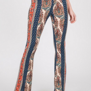 Blue paisley long bell bottoms pants