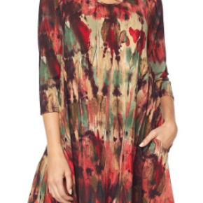 Plus Red Watercolor Print Swing Dress With Criss Cross Neckline