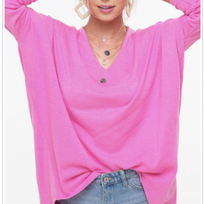 BASIC LINE soft luxe sweater top v neck line front and back with raw edge finish dolman sleeves rounded hem finished with hi low design a simple, everyday slouchy silhouette 50 acrylic 45nylon 5wool