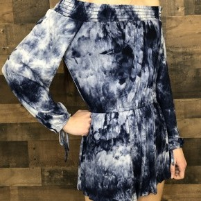 Navy tie-dye romper with shorts and long sleeve