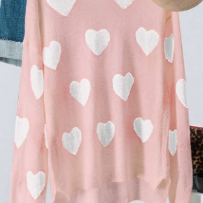 Pink valentine heart knit sweater