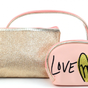 """Rose gold """"Love Me"""" 3 in 1 makeup pouch set"""