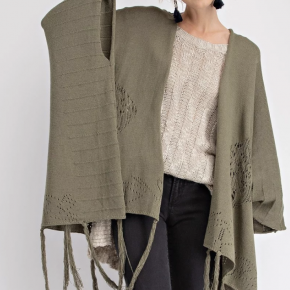Faded olive knitted poncho open cardigan
