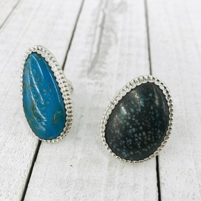 AUTHENTIC TURQUOISE SIZED RINGS IN STERLING SILVER