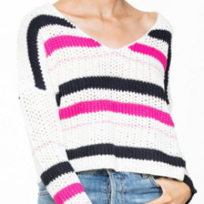 Cream striped knit long sleeve sweater