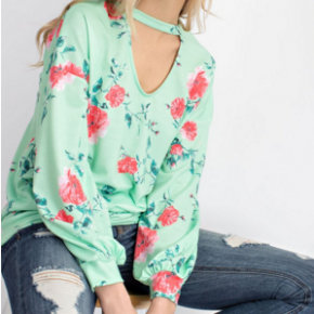 Mint floral long sleeve top with keyhole neck