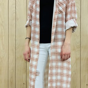 Plaid button down dress with high side slits