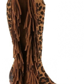Western leopard tall boots with side tassel