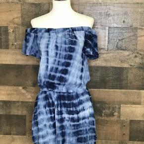 Navy tie-dye off the shoulder romper with pockets