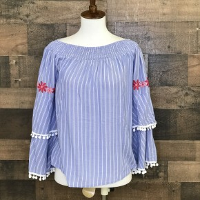 Plus blue pin stripe off shoulder top with bell sleeves and floral detail