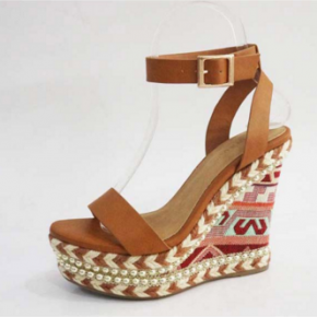 Tan Aztec print wedge with braided  and studded detail