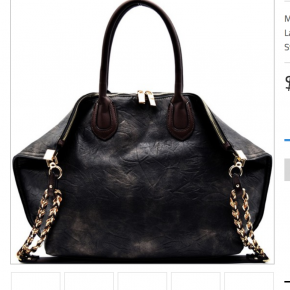 Chain accent folded corner w way large tote faux leather ip top closure back ip pocket detachable shoulder strap