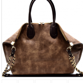 Chain accent folded corner 2 way large tote