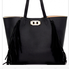 Fringe accent, turn lock, 2 in 1 tote with faux leather,  zip top closure and detachable shoulder strap