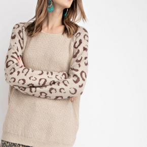 Oatmeal knit sweater with brown leopard print sleeves
