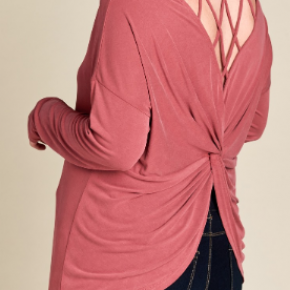 Plus dusty berry caged back modal knit top with twist gathering