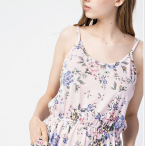 T/R jersey floral cami pocketed romper