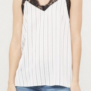 Off white stripe print cami top featuring V-neckline with lace trim