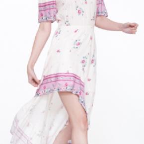 Peach lilac Short Sleeve Off Shoulder Pastel Pink Floral High Low Dress